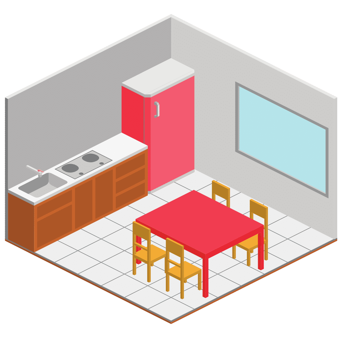 a cartoon illustration of a simple kitchen with tiled floor