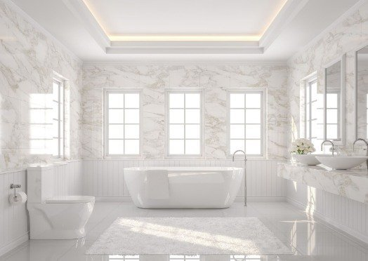 tiling in a white and bright bathroom at Geelong Tilers