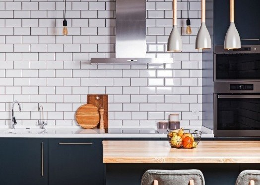white tiles in a kitchen at Geelong Tilers